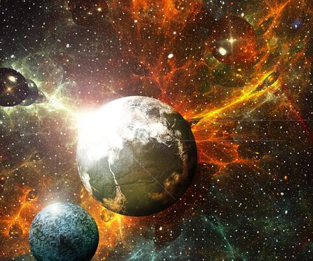Ilustración 3D ilustraciones del espacio con planetas nebulosas starfield y fractal nebulosas Foto de archivo - 85007800