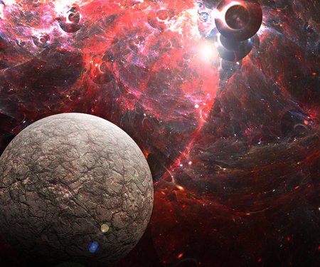 Ilustración 3D ilustraciones del espacio con planetas nebulosas starfield y fractal nebulosas Foto de archivo - 85084806