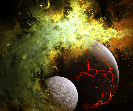 starfield: 3D illustration artwork of space with planets  nebulas starfield and fractal nebulas