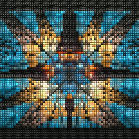 3D render of puff pixels fractal colorful mosaic background
