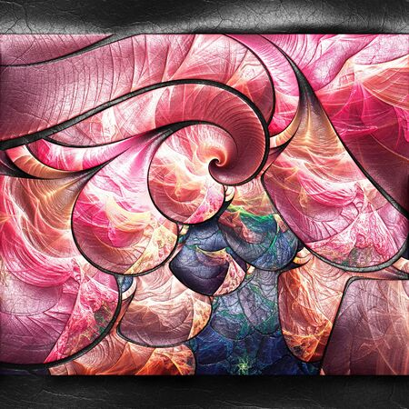 leather texture: 3D rendering of plastic background with embossed fractal on leather Stock Photo