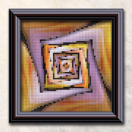 details: 3D rendering combo artwork with puff pixels fractal in elegant frame