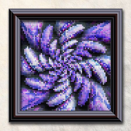 3D rendering combo artwork with puff pixels fractal in elegant frame