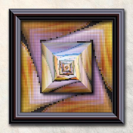 details: 3D rendering combo artwork with puff pixels fractal and fractal buttons in elegant frame