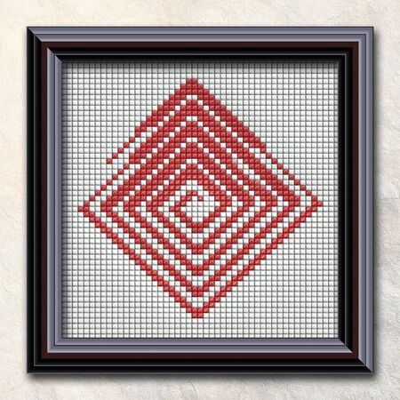 details: 3D rendering combo artwork withpuff pixels fractal in elegant frame
