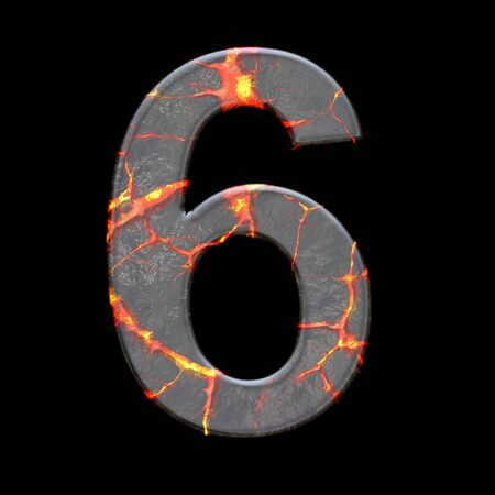 numbers: 3D render of alphabet number with volcano cracks embellishment