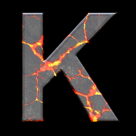 numbers abstract: 3D render of alphabet letter with volcano cracks embellishment