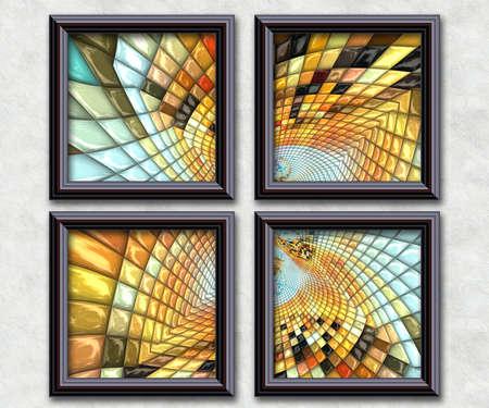 tile: 3D rendering puff pixels artwork gallery in elegant frames