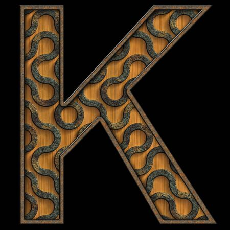 3D render of wood and corroded metal textured alphabet capital letter Stock Photo