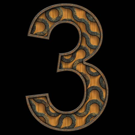 3D render of wood and corroded metal textured number