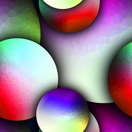 3D render seamless pattern background tile with colorful polygonal balls Stock Photo