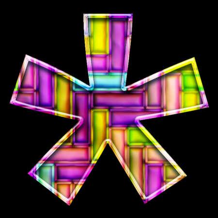 3D render of neon bricks pattern symbol