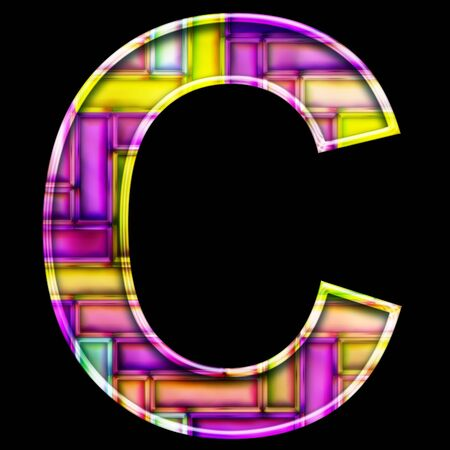 3D render of neon bricks pattern alphabet capital letter
