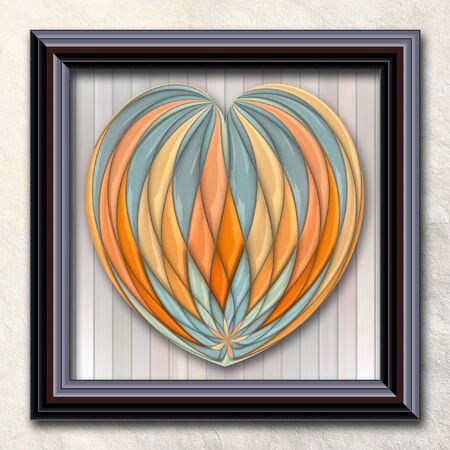 3D rendering combo artwork with puff pixels heart in elegant frame