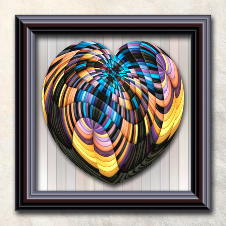 pave: 3D rendering combo artwork with puff pixels heart in elegant frame
