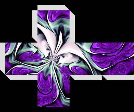 embellishment: Packaging cube mock up design with fractal illustration embellishment Stock Photo