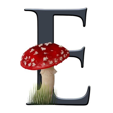 3D render of alphabet capital letter embellished with red toad
