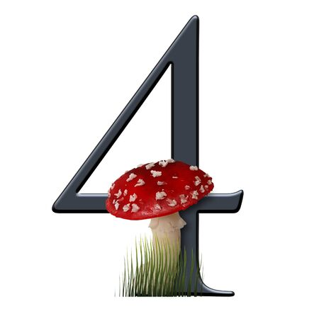 3D render of alphabet number embellished with red toad