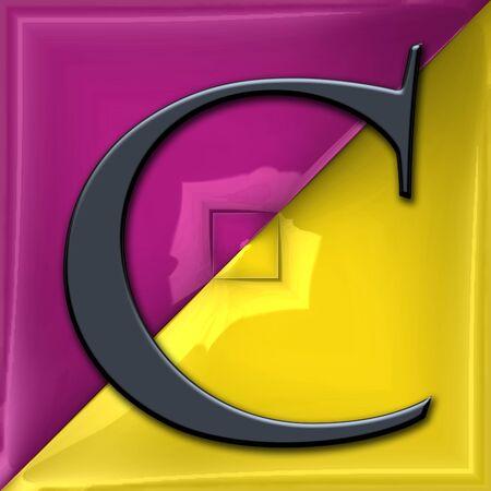 3D render of plastic alphabet capital letter on glossy pattern tile Stock Photo
