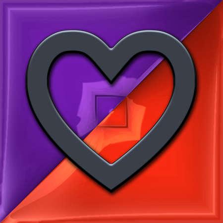 3D render of plastic heart symbol on glossy pattern tile