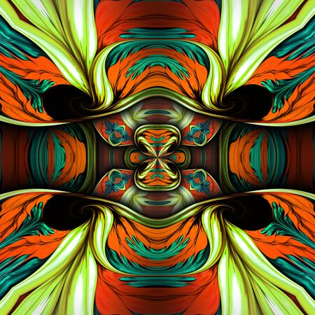 3D rendering of computer generated colorful fractal ornament artwork