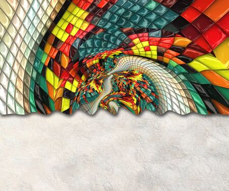 3D render background template with colorful puff pixels mosaic embellishment and copy space