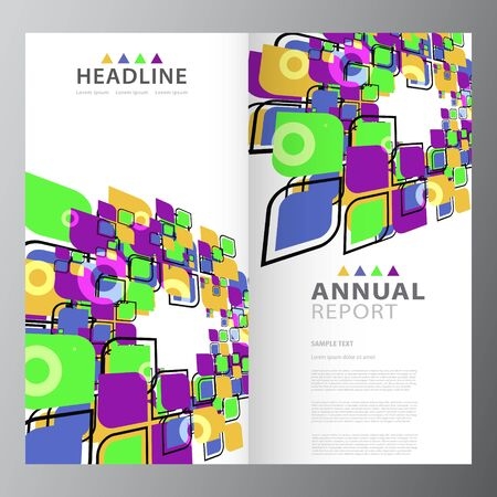 Annual business report brochure layout template design Illustration