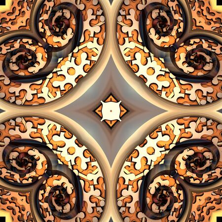 3D render of plastic background tile with embossed abstract ornament