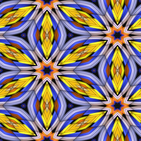3D render of plastic puffs background tile with embossed kaleidoscope ornament