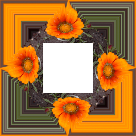 3D render of  background frame with embossed real flowers