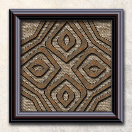 3D rendering combo artwork with fractal and fractal buttons in elegant frame Stock Photo