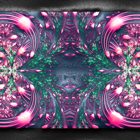 3D rendering of plastic background with embossed colorful fractal on leather
