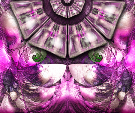 3D rendering combo artwork with fractal on leather and fractal buttons Stock Photo