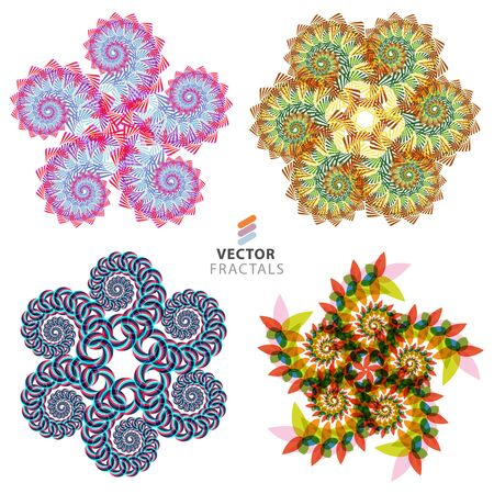 Vector colorful fractal creative design collection