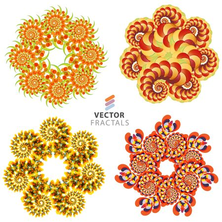 Vector colorful fractal flower creative design collection Çizim