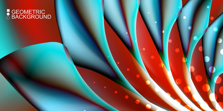 Geometric abstract background template with fluid waves in blurred colors