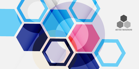 Abstract colorful background template with blended hexagon shapes
