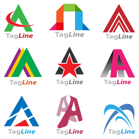 Collection of  creative colorful  business icon  set based on letter A type