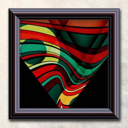 3D rendering combo artwork with vector geometric  artwork on canvas in elegant frame