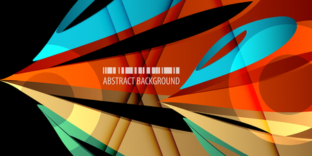 Abstract colorful background template with blended multiple geometric objects