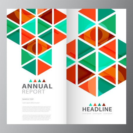 Annual colorful business report template design layout