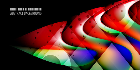 Abstract colorful background graphics template with blended multiple 3D like objects