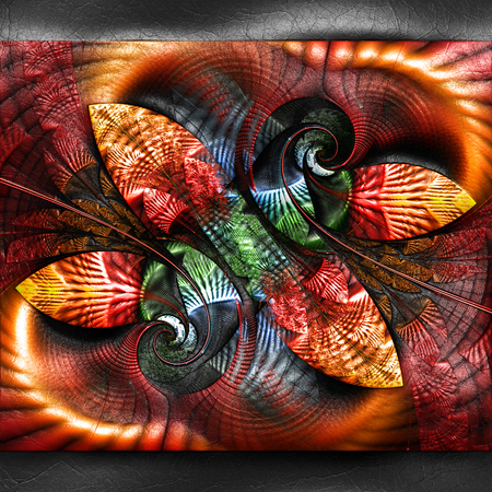 3D rendering of plastic background with embossed fractal on leather Banco de Imagens