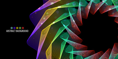 Abstract colorful background graphics template with blended multiple geometric strip objects Çizim