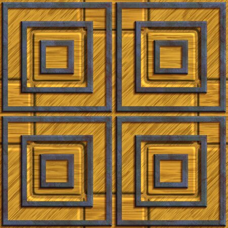 3D render of plastic seamless background tile with embossed metallic element on wood base Stockfoto