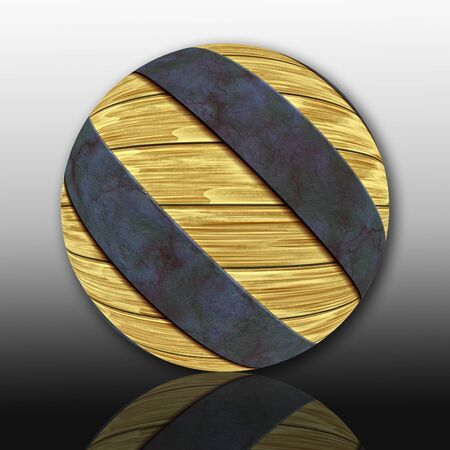 3D render of textured wood ball with corroded metallic embellishment