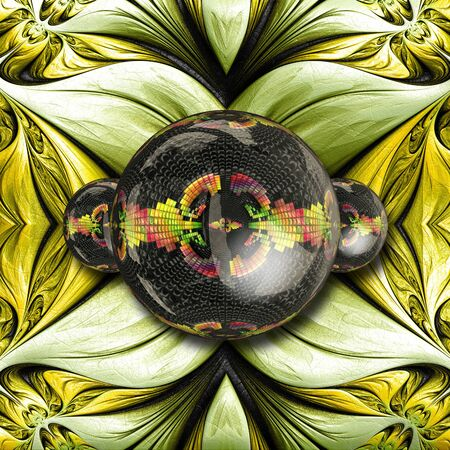 3D rendering combo creative graphics artwork with fractal on leather and fractal glossy buttons Stockfoto