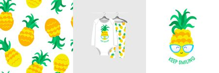 Seamless pattern and illustration for kid with pineapple, quote Keep smiling. Cute design pajamas on hanger. Baby background for clothes wear fashion, room decor, t-shirt print, baby shower invitation