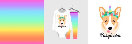 Seamless pattern and illustration for kid with unicorn corgi dog, text Corgicorn. Funny design pajamas on hanger. Baby background for fashion clothes, room decor, t-shirt print, baby shower, wrapping
