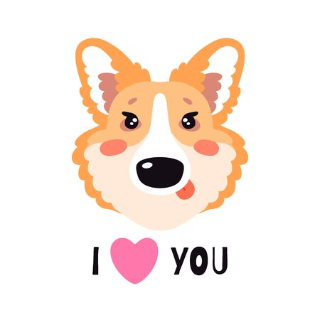 Illustration with happy Corgi dog, text I love you